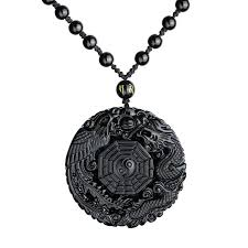 lucky chinese natural obsidian carved wolf head pendant beads necklace jewelry 1 of 6free see more