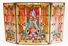 lot 0267 victorian style stained glass fireplace screen