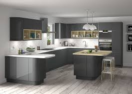 Large Modern Glossy Interior Kitchen With Grey And White Cabins With White  Natural Flooring Make It Seems So Great Design Inside, With Grey Cabinet  Inside