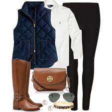 81 best Equestrian Horse & Rider Fashion images on Pinterest ... & tory burch riding boots, navy quilted vest, white blouse, black jegging,  brown Adamdwight.com