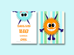 set of two monster nursery printkids wall canvasorange blue