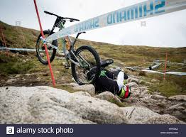 Downhill mountain bike crash sequence - rider Adam Brayton at the UCI  Mountain Bike World Cup in Fort William 2019 during practice 12 images  Stock Photo - Alamy