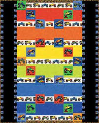 Monster trucks Toddler Quilt boys bright colors by GailsStitches ... & Jammin` With Landon- Chris Hoover for Whirligig DesignsBased on Monster  Truck Madness collection by Adamdwight.com