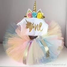 2019 Highquality Baby Girl Summer Clothes 1st Unicorn Birthday Dress
