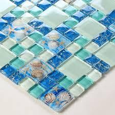 sea blue glass shell resin chips beach style green aqua le crystal mosaic wall decor