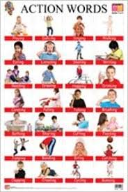 Action Words Chart With Pictures Buy Action Words Educational Wall Charts Book Online At
