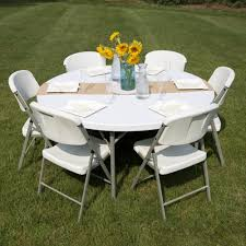 eye catching round folding table 60 heavy duty plastic white granite on