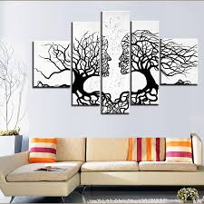 black and white tree paintings 2018 100 hand made promotion black white tree canvas painting