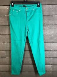 Details About Iman 230 Kelly Green Side Zipper Skinny Stretch Pants Womens 6