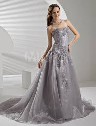 court train silver organza wedding dress with a line sweetheart