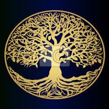 Fototapeta Skica Zlatý Strom života Krásný Nápad Na Logo Symbol Rodiny