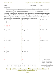 17 one and two step equations worksheet algebra problems and