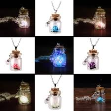 whole luminous flower necklace glow in the dark glass tiny wishing bottle vial necklace pendant chain gift for female women 15 mens pendant necklaces
