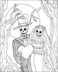 Free download 40 best quality wedding couple coloring pages at getdrawings. Coloring Pages Skeleton Wedding Color Page Day Of The Dead Etsy