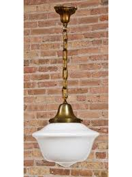 early 20th century vintage industrial factory office schoolhouse pendant light with white opalescent acorn shade