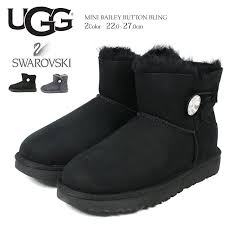 ugg swarovski mouton boots lady s ugg mini bailey on bling genuine leather スエードシープスキンアグ