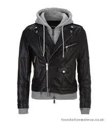 men dsquared2 sweatshirt jacket black leather hooded greymarl