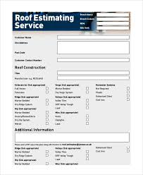 free estimate forms templates roofing estimates templates free download