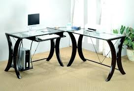 bedroom engaging glass top l shaped desk 37 shape black computer large ikea engaging glass