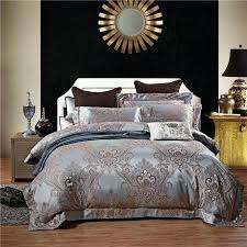 luxury satin jacquard bedding sets queen king size duvet cover bed linen set cotton in a