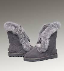 UGG Fox Fur Short 3586 Grey Boots