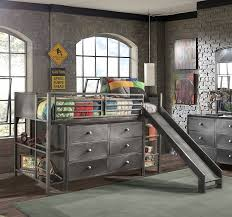 loft with slide. bedroom design:low loft bed with slide make and playground at once using