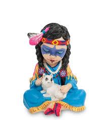 <b>Статуэтка</b> в стиле Фэнтези ''<b>Индейская девочка</b> с волчонком'' WS ...