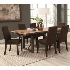 coaster furniture spring creek dining table warm up your contemporary dining area with the charm of natural stripes the coaster furniture spring creek