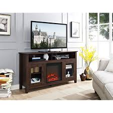 58 inch wood highboy fireplace media tv stand console hover to zoom