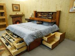 Diy King Size Bed Frame With Storage Brown Lacquered Mahogany Wood ...