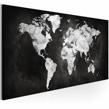 Schilderij Wereld In Zwartwit Wereldkaart Zwart Wit 1 Luik