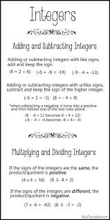 Positive And Negative Integer Chart Cynces Place