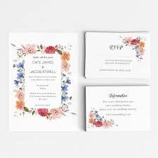 Rsvp Card Sizes Printable Wedding Invitation Set Spring Garden Floral