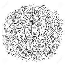 漫画のベクトルの手描き落書き赤ちゃんイラストライン アート詳細オブジェクトとシンボルでデザインの背