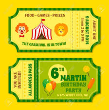 Party Tickets Templates Two Vintage Circus Carnival Birthday Party Invitation Tickets 22