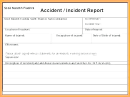 Incident Statement Report Template Accident Report Template Vehicle