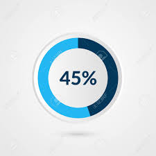 45 Percent Blue Grey And White Pie Chart Percentage Vector Infographics
