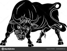 разъяренный бык изолированные белом фоне векторные иллюстрации