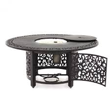 avery island 7 piece resin wicker patio dining set with fire pit dining table by lakeview