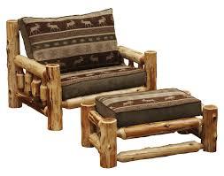 cedar log frame lounge chair and a half and ottoman and