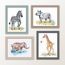 wall decor by little pig studios painted baby safari animals art prints home