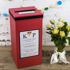 How To Decorate A Wedding Post Box Personalised Wedding Post Box Post box Wedding post box and Red 26