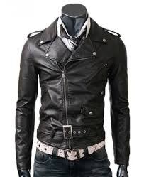 men s asymmetrical zipper biker style slim fit belted black leather jacket