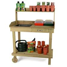 table on wheels. wooden potting table on wheels s