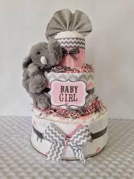 Designer Diaper Cakes Designer Elephant Diaper Cake In Pink And Gray Elephant