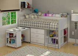 bedroom white solid wood loft bunk bed with sliding desk and storage drawer also bookcase underneath integrated with gray polished steel ladder in gray