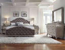 rhianna silver patina king upholstered panel bed