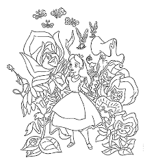 Alice In Wonderland Coloring Pages Flowers