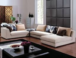 cheap contemporary furniture with sofa and black wooden table and lamp and wall