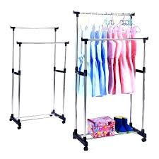 portable clothes rack with cover double clothes rack portable double rods rolling clothes rack adjule garment rack hanging rack for clothes double
